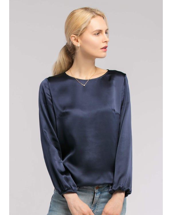 Round Neck  Silk Blouse Navy Blue XXL