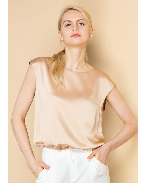 Basic Cap Sleeves 22MM Silk T Shirt Light Camel XS