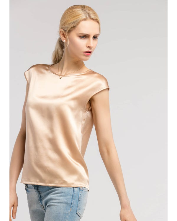 Basic Cap Sleeves 22MM Silk T Shirt Light Camel XS-hover
