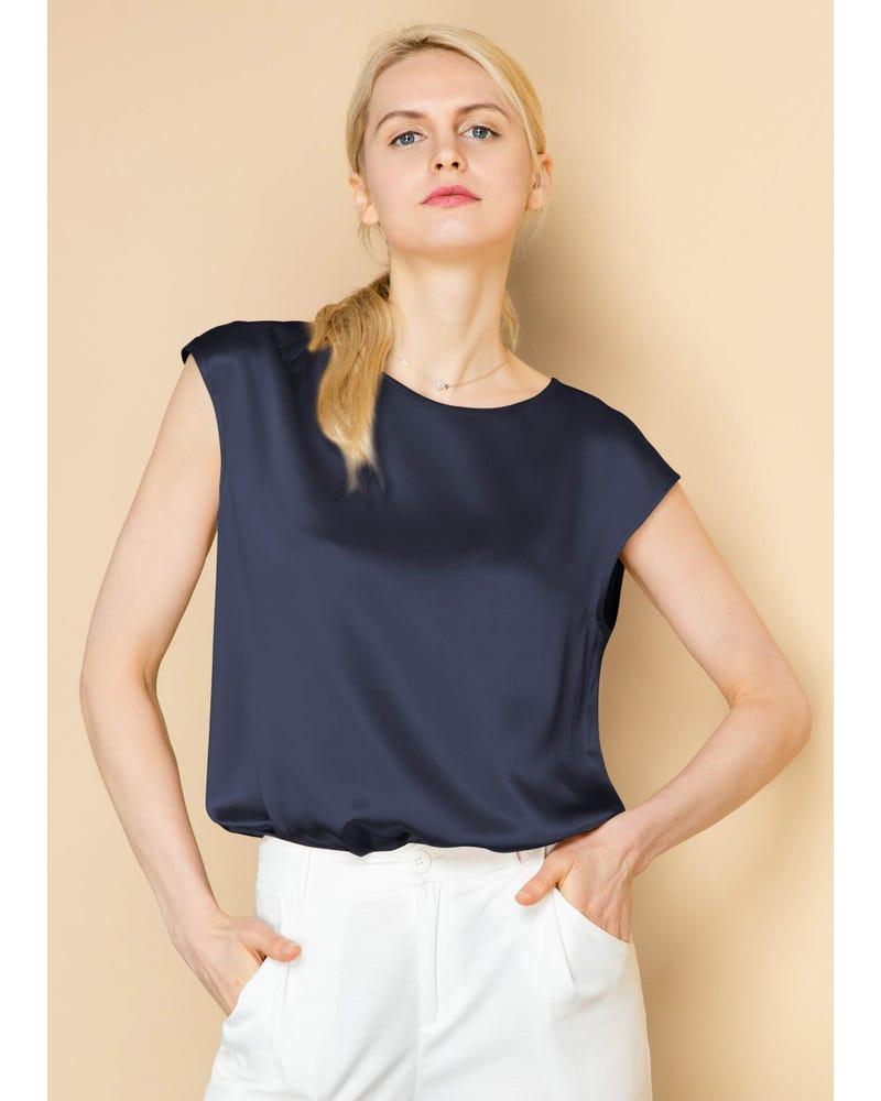 Basic Cap Sleeves  Silk T Shirt