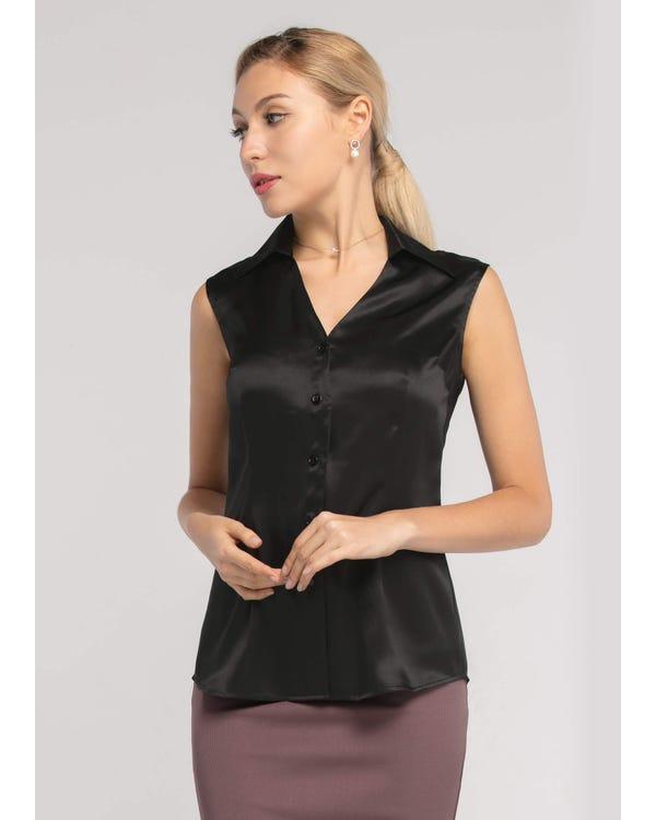 V Neck  Silk Vest Shirt Black XXL