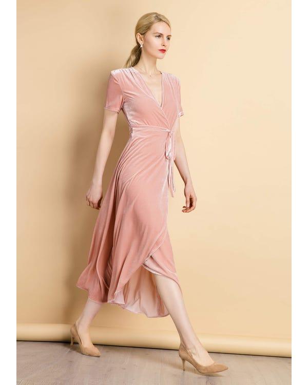 Vintage Silk Velvet Wrap Dress