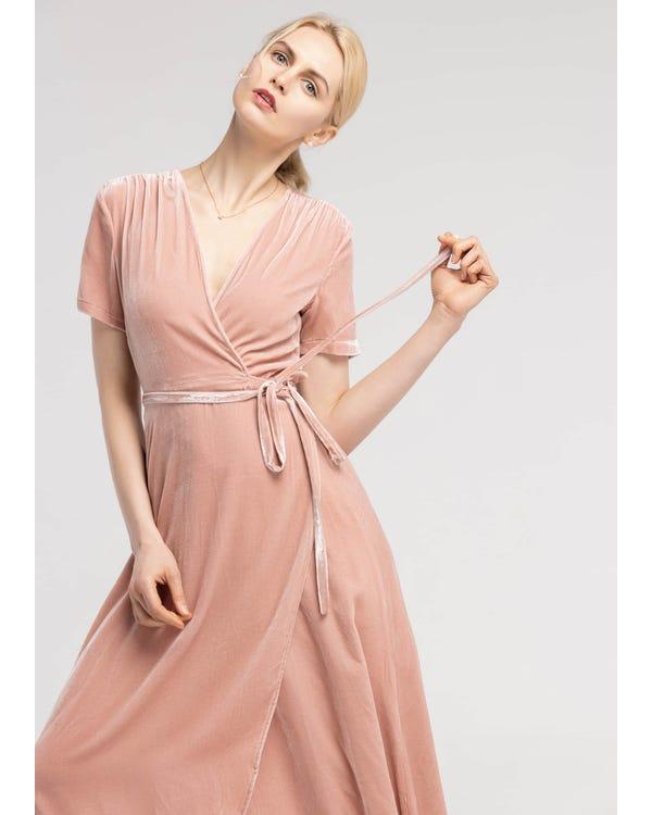 Vintage Silk Velvet Wrap Dress-hover