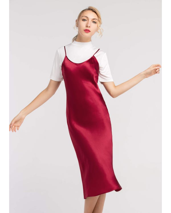 For All Occasions in 22MM Silk Cami Dress Claret M