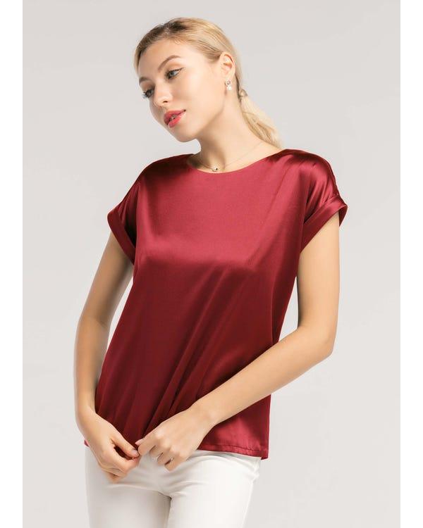 Short Sleeves Round Neck Silk Tee Claret JPXXXL