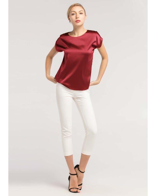 Short Sleeves Round Neck Silk Tee Claret JPXXXL-hover