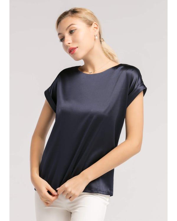 Korte Mouwen Ronde Kraag  Zijden T-shirt