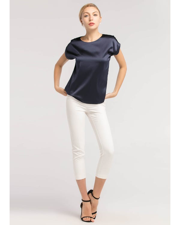 Short Sleeves Round Neck  Silk T Shirt Navy Blue XL-hover