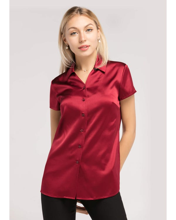Basic V Neck Short Sleeves 19MM Silk Shirt
