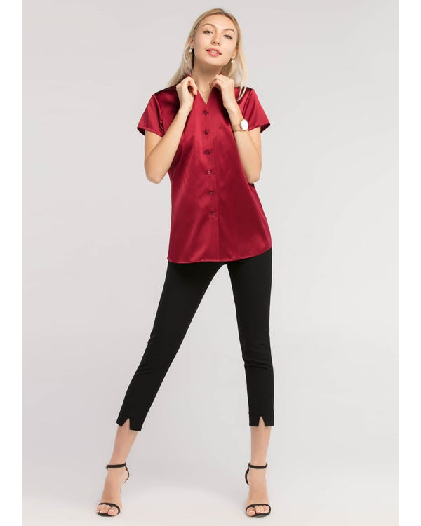 Basic V Neck Short Sleeves 19MM Silk Shirt-hover