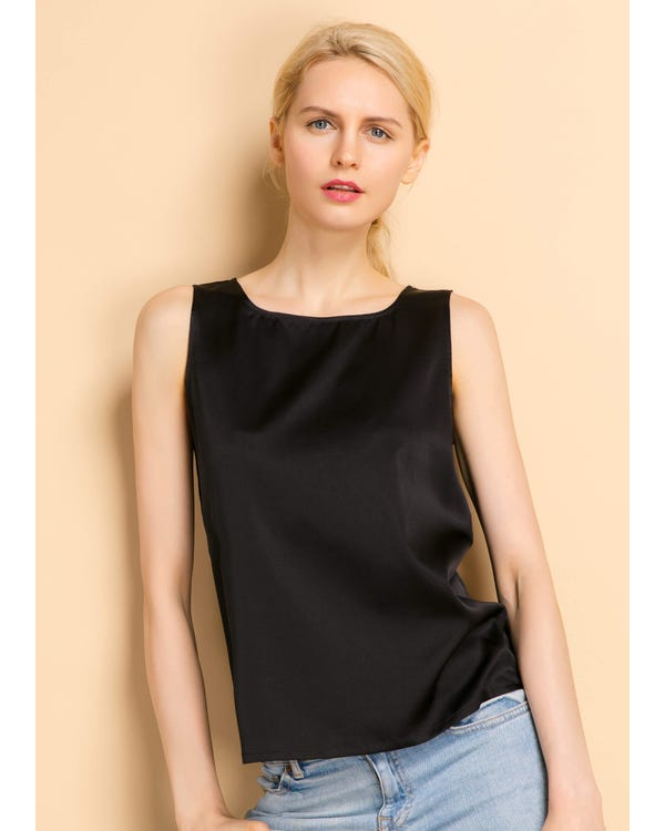Basic Square Collar  Silk Top Black XL