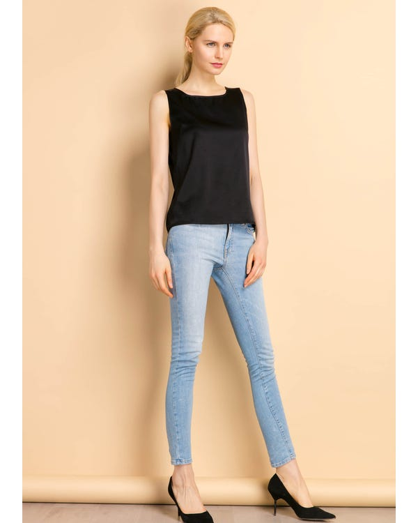Basic Square Collar  Silk Top Black XL-hover