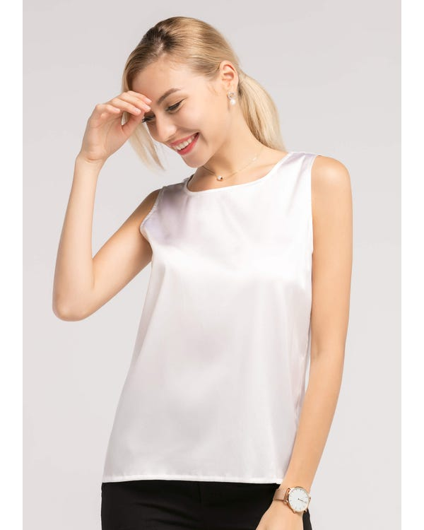 Basic Square Collar  Silk Top