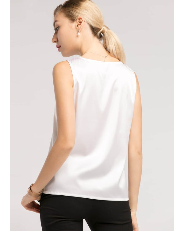 Basic Square Collar  Silk Top-hover