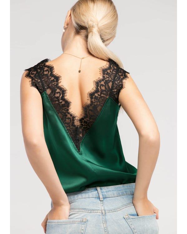 Deep V Neck Sleeveless  Silk Vest Green Jade XXL