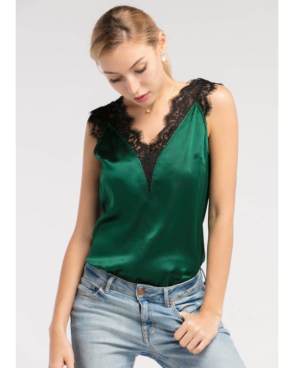 Diepe V-hals Mouwloze  Zijden Vest Groene Jade XXL-hover
