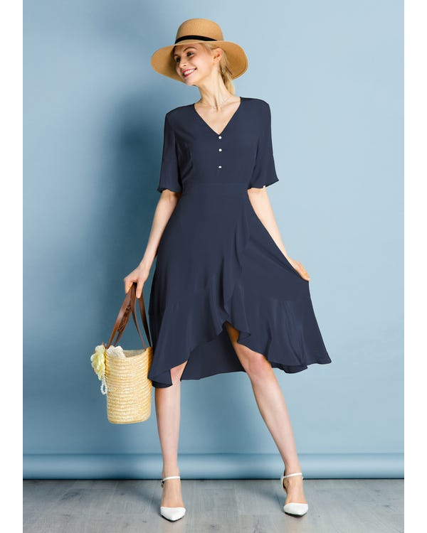 Ruffle Trim V Neck  Silk Dress-hover