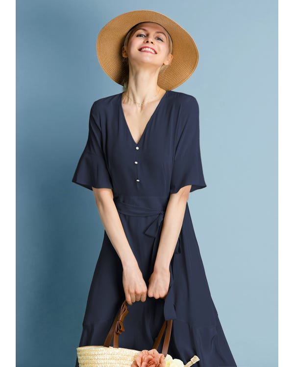 Ruffle Trim V Neck  Silk Dress Navy Blue JPXXXL