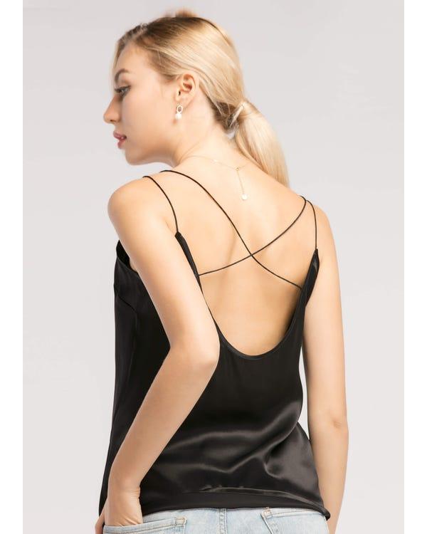 Sexy V-hals  Zijden Hemd Zwart XXL