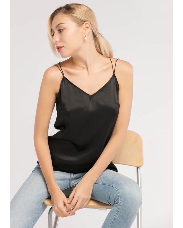 Sexy V-hals  Zijden Hemd Zwart XXL-hover