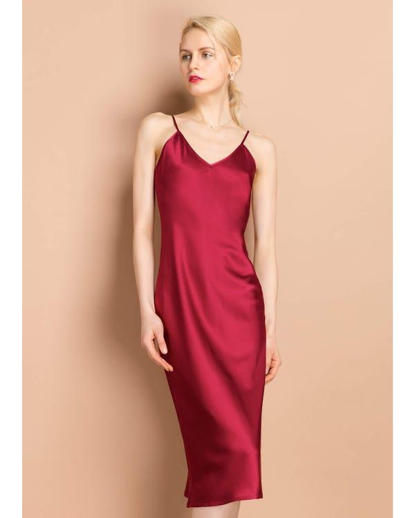 Sexy  Silk Cami Dress Claret XXL