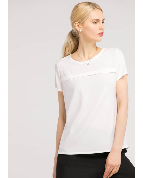 Casual Round Neck  Silk T Shirt White XL