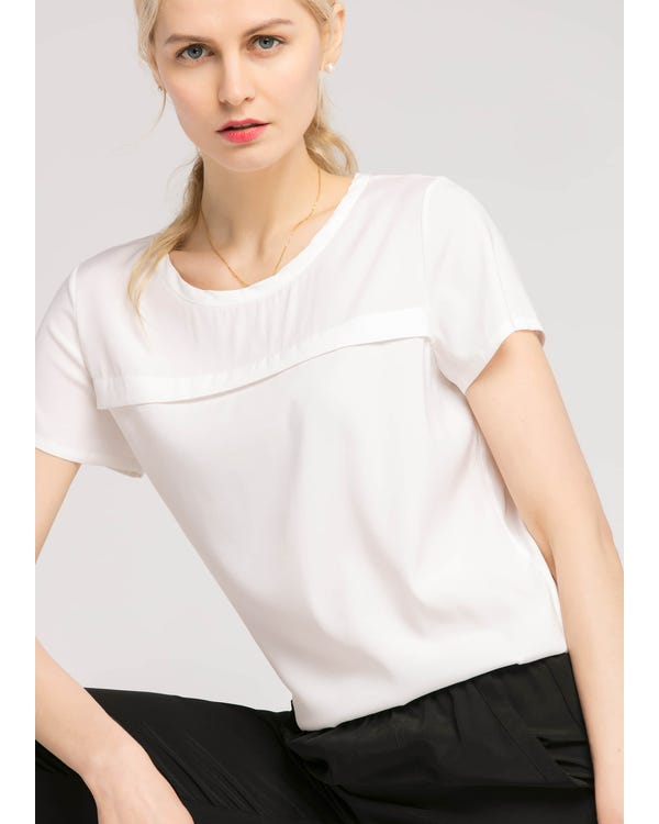 Casual Round Neck  Silk T Shirt White XL-hover