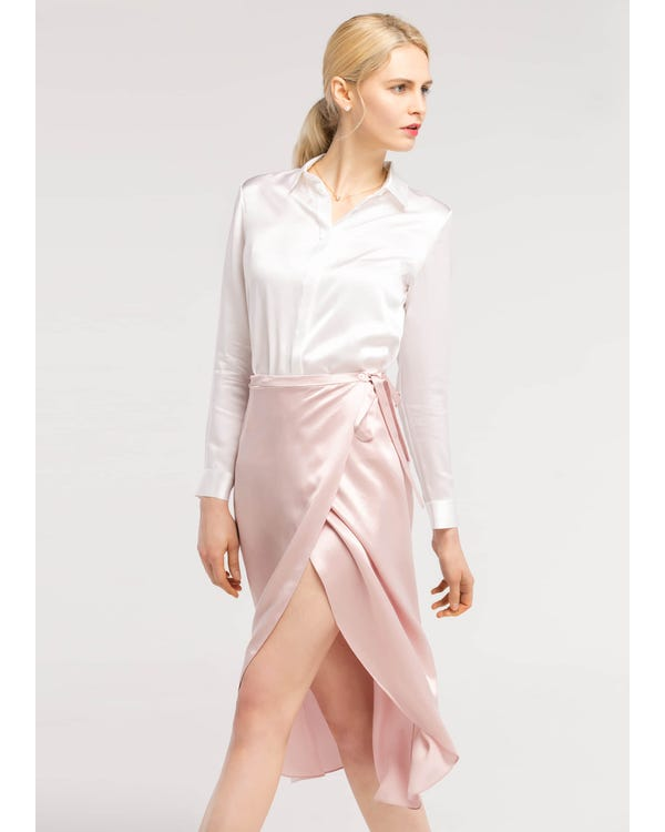 Tulip Hem  Silk Wrap Skirt Rosy Pink L