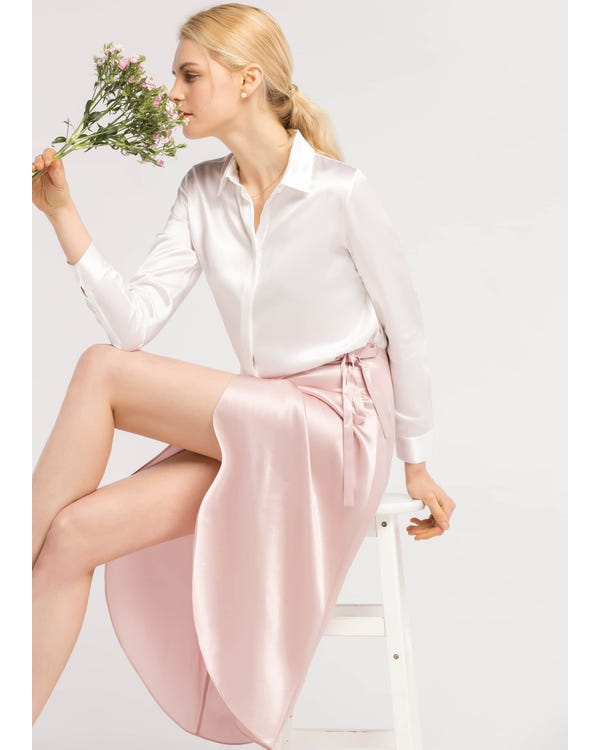 Tulip Hem  Silk Wrap Skirt Rosy Pink S-hover