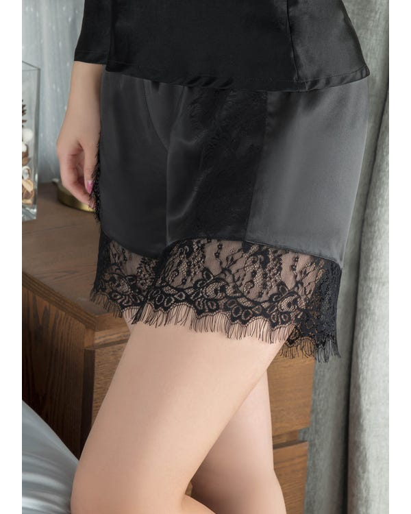 19MM Lacy Silk Boyshorts Black M-hover