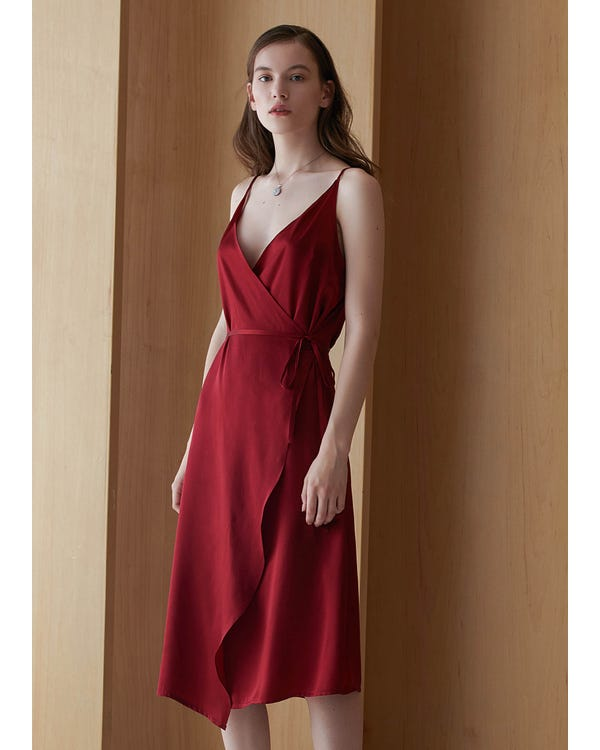 V Neck Tie Waist Silk Evening Dress