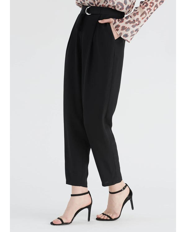 Elegant Silk Cropped Pants Black 31B