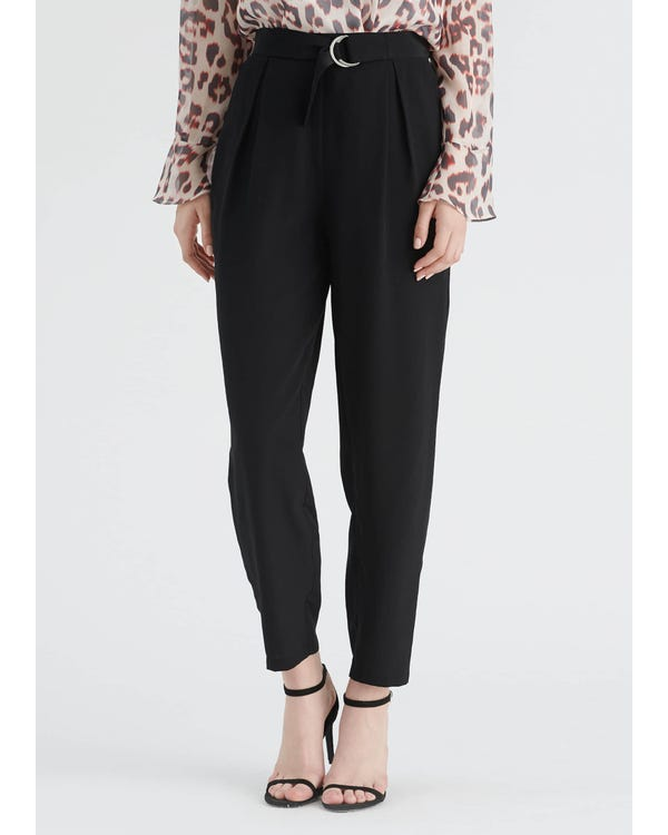 Elegant Silk Cropped Pants Black 31B-hover