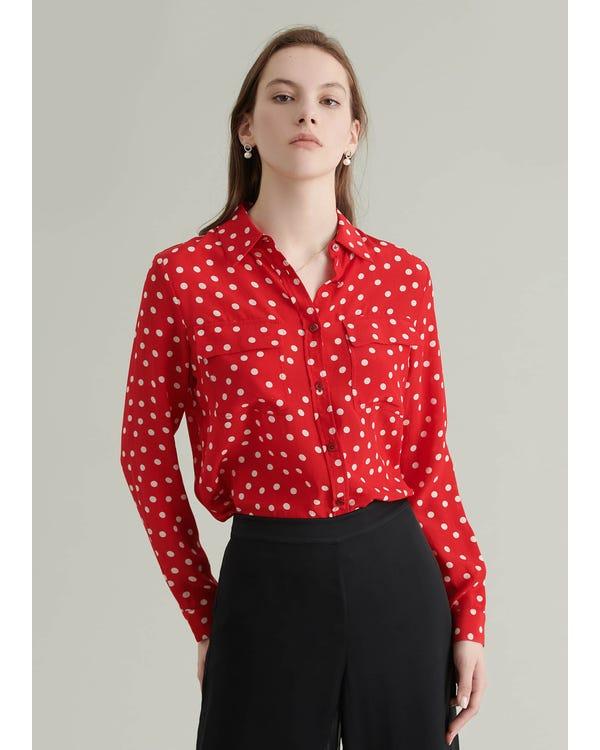 Vintage Polka Dot Silk Blouse Red-Polka-Dots XXL