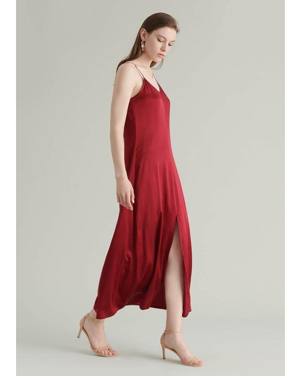 Ankle Length Cami Silk Dress Claret XXL