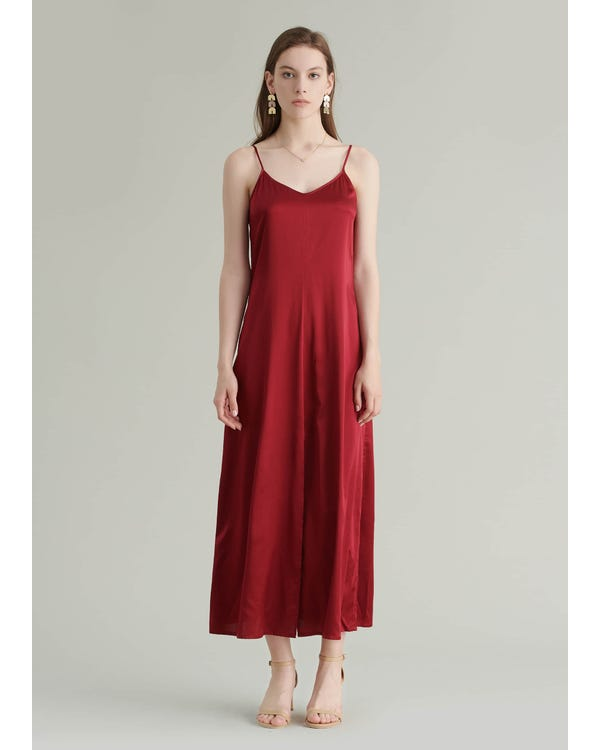 Ankle Length Cami Silk Dress Claret XXL-hover