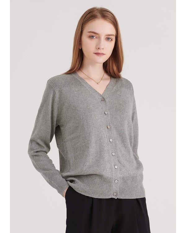 Essential V Neck Cardigan Classy Grey L