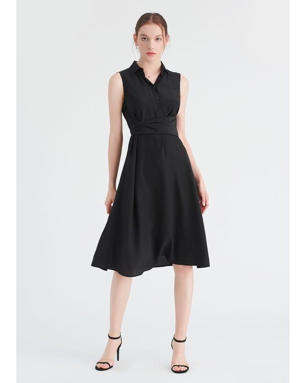 Body Flattering Silk Shirt Dress Blcak XXL