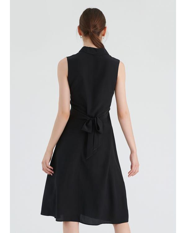 Body Flattering Silk Shirt Dress Blcak XXL-hover