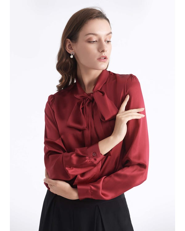 Bow-tie Neck Silk Blouse Claret XXL