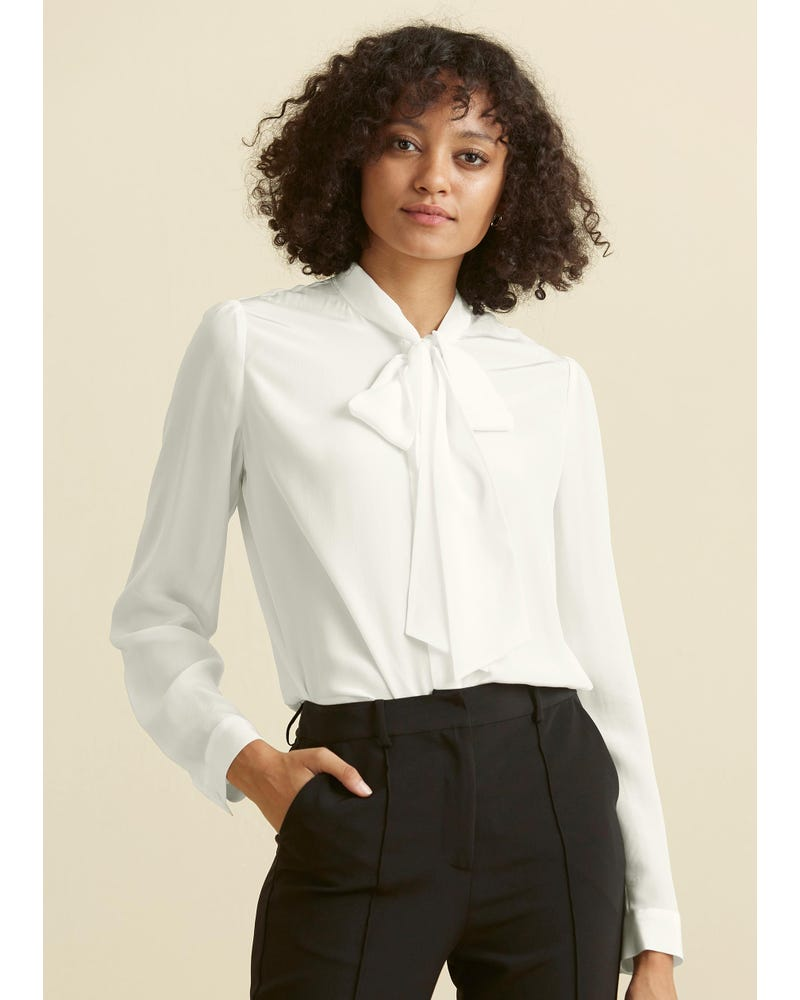 Classic Bow Tie Silk Blouse