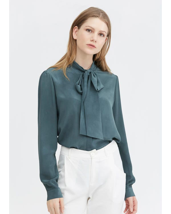 Classic Bow Tie Silk Blouse Smoky-Blue XXL