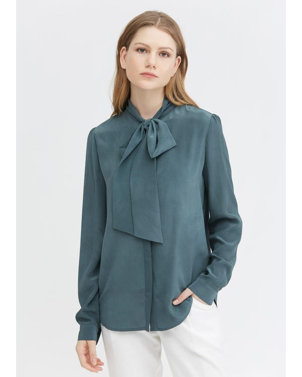 Classic Bow Tie Silk Blouse Smoky-Blue XXL-hover