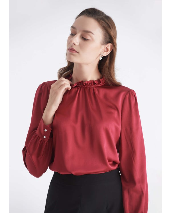 Sleek Puff Sleeve Silk Blouse