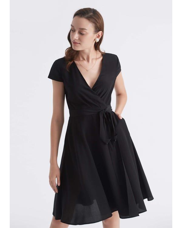 Figure Flattering Silk Wrap Dress Black JPXXXL