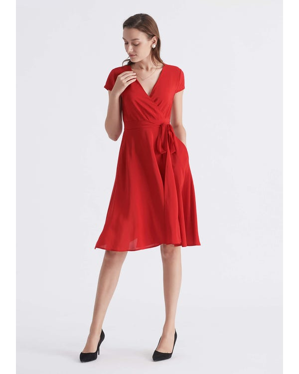 Figure Flattering Silk Wrap Dress Cardinal XXL