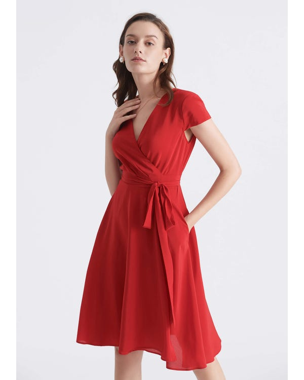 Figure Flattering Silk Wrap Dress Cardinal XS