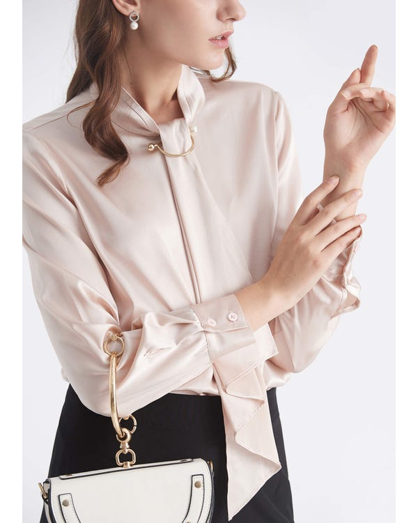 Feminine Stehkragen Bluse-hover