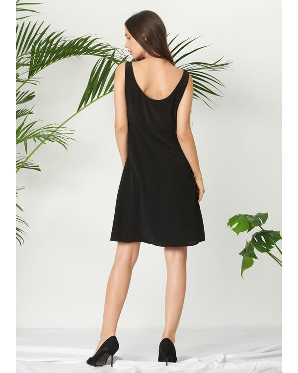 Classic Boat Neck Black Dress-hover