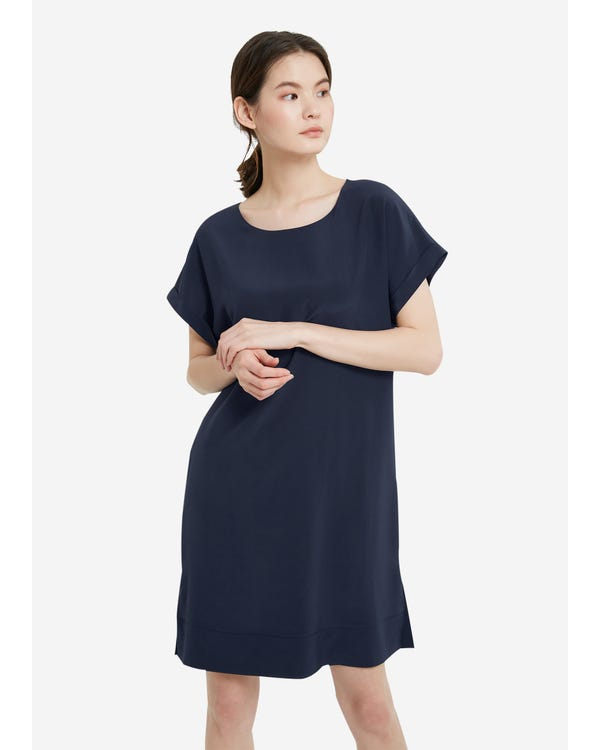 Simple Elegant Long Silk Shift Dress